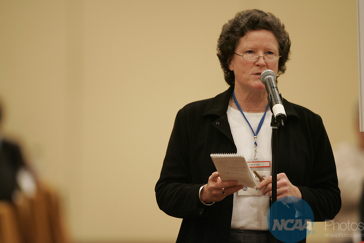 14 January 2008: The Division III Business Session at the 2008 NCAA Convention at the Gaylord Opryland Resort Hotel and Convention Center in Nashville, TN.  Pictured: Peggy Williams.Trevor Brown, Jr./NCAA Photos.