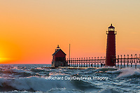 64795-01112 Grand Haven South Pier Lighthouse at sunset on Lake Michigan, Ottawa County, Grand Haven, MI