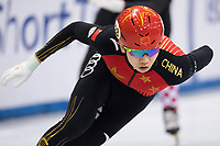 1st February 2019, Dresden, Saxony, Germany; World Short Track Speed Skating; 500 meter men in the EnergieVerbund Arena. Yu Songnan from China runs in a bend.