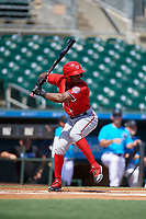 Washington Nationals Rafael Bautista (9) at bat during an Instructional League game against the Miami Marlins on September 25, 2019 at Roger Dean Chevrolet Stadium in Jupiter, Florida.  (Mike Janes/Four Seam Images)
