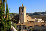 Church tower and village rooftops, Lliber, Marina Alta, Alicante province, Spain