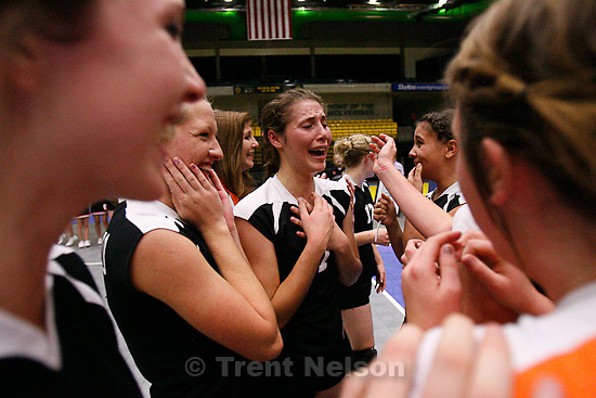 Trent Nelson     The Salt Lake Tribune.Monticello players celebrate their win over Rich for the 1A high school volleyball State Championship at Utah Valley University in Orem, UT on Saturday, October 29, 2011.