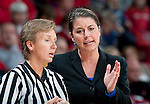 Duke Blue Devils head coach Joanne P. McCallie talks to an official during an NCAA college women's basketball game against the Wisconsin Badgers during the ACC/Big Ten Challenge at the Kohl Center in Madison, Wisconsin on December 2, 2010. Duke won 59-51. (Photo by David Stluka)
