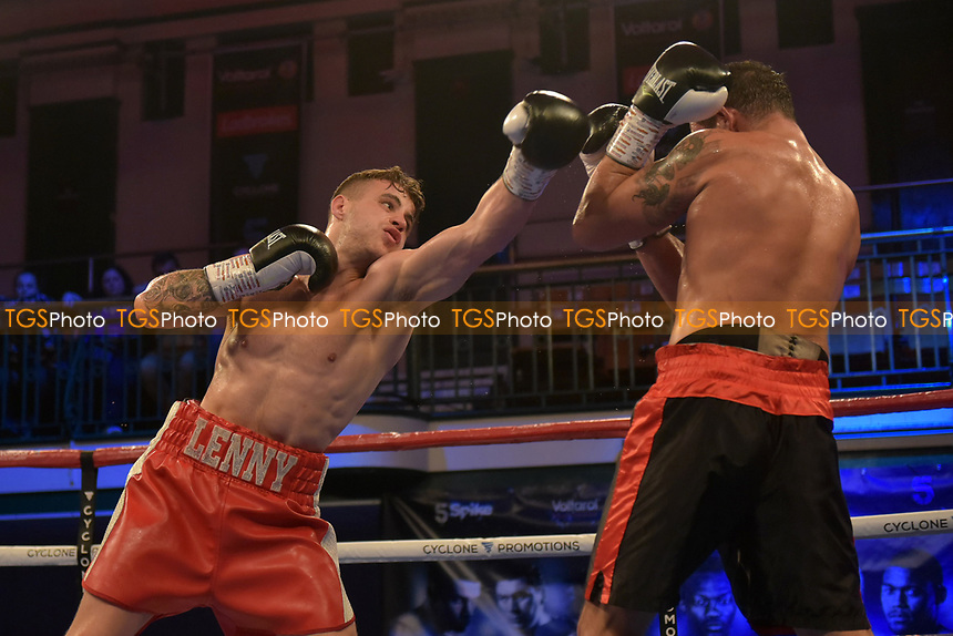 Lenny Fuller (red shorts) defeats Kevin McCauley during a Boxing Show at York Hall on 13th October 2018