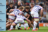 Alec Hepburn of Exeter Chiefs takes on the Leicester Tigers defence. Gallagher Premiership match, between Exeter Chiefs and Leicester Tigers on September 1, 2018 at Sandy Park in Exeter, England. Photo by: Patrick Khachfe / JMP
