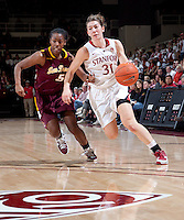 STANFORD, CA - January 8, 2011: Toni Kokenis of the Stanford Cardinal women's basketball team during Stanford's game against Arizona State at Maples Pavilion. Stanford won 82-35.
