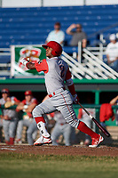 Williamsport Crosscutters second baseman Brayan Gonzalez (2) follows through on a swing during a game against the Batavia Muckdogs on June 21, 2018 at Dwyer Stadium in Batavia, New York.  Batavia defeated Williamsport 6-5.  (Mike Janes/Four Seam Images)