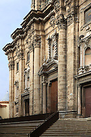 Baroque main facade, cathedral of Tortosa dedicated to Santa Maria, 14th - 16 th century, Tortosa, Tarragona, Spain. This portal was designed by Marti Abaria in 1625 but construction was not carry out until the following century between the years 1728 and 1757. Picture by Manuel Cohen