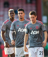 (L-r) Paul Pogba, Chris Smalling & Ander Herrera of Man Utd pre match during the Premier League match between Bournemouth and Manchester United at the Goldsands Stadium, Bournemouth, England on 18 April 2018. Photo by Andy Rowland.