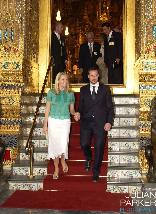 Crown Prince Haakon & Crown Princess Mette-Marit of Norway visit Thailand..Visit to the Grand Palace & The Temple of the Emerald Buddha..