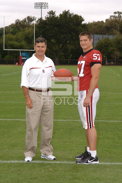 7 August 2006: Stanford Cardinal head coach Walt Harris and Sam Weinberger during Stanford Football's Team Photo Day at Stanford Football's Practice Field in Stanford, CA.