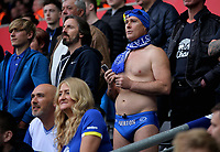 An Everton supporter in blue swimming trunks watches the game during the Premier League match between Swansea City and Everton at The Liberty Stadium, Swansea, Wales, UK. Saturday 06 May 2017