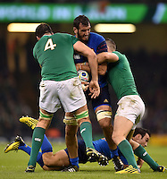 Yoann Maestri of France takes on the Ireland defence. Rugby World Cup Pool D match between France and Ireland on October 11, 2015 at the Millennium Stadium in Cardiff, Wales. Photo by: Patrick Khachfe / Onside Images