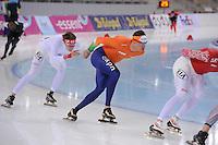 SPEEDSKATING: SOCHI: Adler Arena, 20-03-2013, Training, Yevgeni Lalenkov (RUS), Sven Kramer (NED), © Martin de Jong