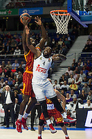 Real Madrid´s Kevin Rivers and Galatasaray´s Young during 2014-15 Euroleague Basketball match between Real Madrid and Galatasaray at Palacio de los Deportes stadium in Madrid, Spain. January 08, 2015. (ALTERPHOTOS/Luis Fernandez) /NortePhoto /NortePhoto.com