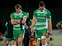 Manawatu's Hadleigh Parkes and Mike Fitzgerald after the 27-26 loss. ITM Cup rugby - Manawatu Turbos v Canterbury at FMG Stadium, Palmerston North, New Zealand on Friday, 5 August 2010. Photo: Dave Lintott / lintottphoto.co.nz
