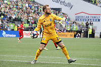 SEATTLE, WA - NOVEMBER 10: Stefan Frei #24 of the Seattle Sounders FC throws the ball during a game between Toronto FC and Seattle Sounders FC at CenturyLink Field on November 10, 2019 in Seattle, Washington.