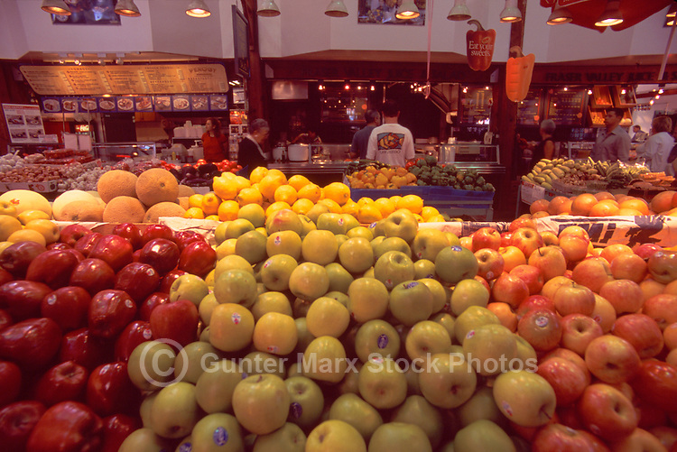 Granville Island Public Market, Vancouver, BC, British Columbia, Canada - Fresh Fruit for Sale at Farmer's Stall