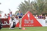 Rory McIlroy juggles his water bottle as he waits on Martin Kaymer on the 14th tee on the final day of the Abu Dhabi HSBC Golf Championship 2011, at the Abu Dhabi golf club, UAE. 22/1/11..Picture Fran Caffrey/www.golffile.ie.