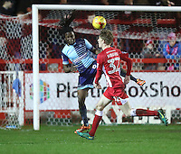 Marcus Bean of Wycombe Wanderers defends against Harvey Rodgers of Accrington Stanley <br /> during the Sky Bet League 2 match between Accrington Stanley and Wycombe Wanderers at the wham stadium, Accrington, England on 28 February 2017. Photo by Tony  KIPAX.
