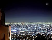 Los Angeles, CA, USA, Dusk, Twilight, Night, Blue Sky, Skyline, Cityscape, Griffith Observatory, Full Moon