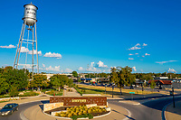 Aerial image of the the Koughan Memorial Water Tower Park is located near downtown Round Rock. The old watertower is a Round Rock landmark that was one of the original water towers for Round Rock. The City decorates the watertower with Christmas lights every December.