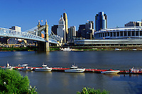 skyline, Cincinnati, bridge, OH, Ohio, Downtown skyline, John A. Roebling Suspension Bridge, Ohio River, Cinergy Field.