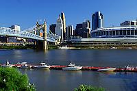 skyline, Cincinnati, bridge, OH, Ohio, Downtown skyline, John A. Roebling Suspension Bridge, Ohio River, Cinergy Field.