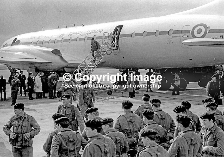 Soldiers of the Prince of Wales Own Regiment arrive 26th April 1969 at RAF Aldergrove, N Ireland, to take up guard duties at public utilities in N Ireland. 196904260158a<br />
