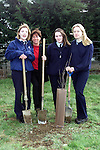 Kim Gray, Lynda Cunningham and Kim Lynch with thier teacher Lorraine Duffy who planted a tree in Scoil Ui Mhuire, Dunleer to mark National Tree week..Picture Paul Mohan Newsfile