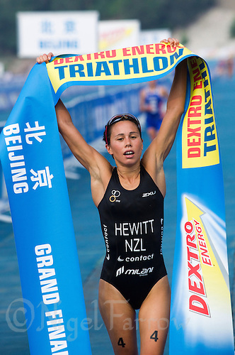 11 SEP 2011 - BEIJING, CHN - New Zealand's Andrea Hewitt (NZL) celebrates winning the 2011 Elite Womens ITU World Championship Series Grand Final Triathlon (PHOTO (C) NIGEL FARROW)