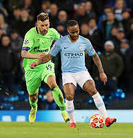 Manchester City's Raheem Sterling under pressure from FC Schalke 04&rsquo;s Guido Burgstaller<br /> <br /> Photographer Rich Linley/CameraSport<br /> <br /> UEFA Champions League Round of 16 Second Leg - Manchester City v FC Schalke 04 - Tuesday 12th March 2019 - The Etihad - Manchester<br />  <br /> World Copyright &copy; 2018 CameraSport. All rights reserved. 43 Linden Ave. Countesthorpe. Leicester. England. LE8 5PG - Tel: +44 (0) 116 277 4147 - admin@camerasport.com - www.camerasport.com