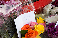 Pictured: Flowers outside Matalan store in Cardiff, Wales, UK where a couple were killed. Thursday 29 September 2016<br />