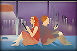 Illustration of couple using mobile phone and digital tablet at home