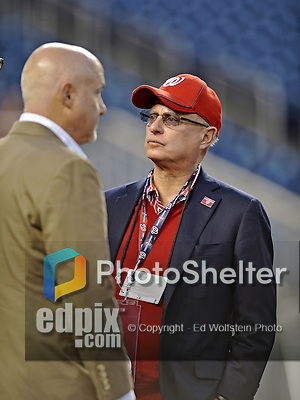 12 October 2012: Washington Nationals Owner Mark Lerner chats with General Manager Mike Rizzo prior to Postseason Playoff Game 5 of the National League Divisional Series against the St. Louis Cardinals at Nationals Park in Washington, DC. The Cardinals rallied with four runs in the 9th inning to defeat the Nationals 9-7; thus winning the NLDS and moving on to the NL Championship Series. Mandatory Credit: Ed Wolfstein Photo