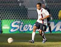 Ricardo Clark eyes the ball. The USA defeated Denmark 3-1 in an International friendly at the Home Depot Center in Carson, CA on January 20, 2007.