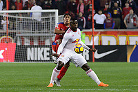 Harrison, NJ - Thursday March 01, 2018: German Mejía, Carlos Rivas. The New York Red Bulls defeated C.D. Olimpia 2-0 (3-1 on aggregate) during a 2018 CONCACAF Champions League Round of 16 match at Red Bull Arena.