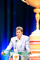 European Team Captain Jose Maria Olazabal (ESP) speaks on stage at the Closing Ceremony after Sunday's Singles Matches of the 39th Ryder Cup at Medinah Country Club, Chicago, Illinois 30th September 2012 (Photo Colum Watts/www.golffile.ie)