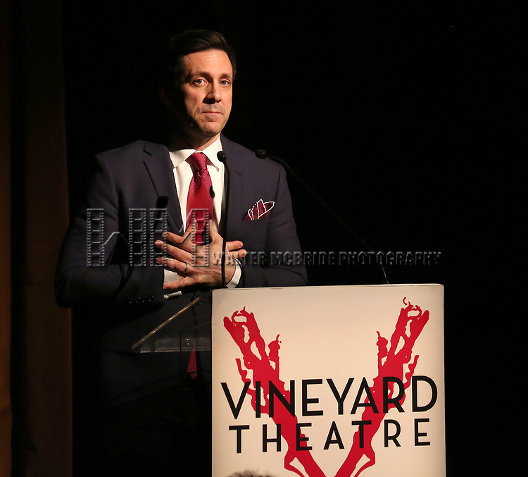 Michael Berresse on stage at the Vineyard Theatre 2017 Gala at the Edison Ballroom on March 14, 2017 in New York City.