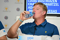 Ernie Els (RSA) hydrates during round 1 player selection for the 2017 President's Cup, Liberty National Golf Club, Jersey City, New Jersey, USA. 9/27/2017.<br /> Picture: Golffile | Ken Murray<br /> <br /> <br /> All photo usage must carry mandatory copyright credit (&copy; Golffile | Ken Murray)