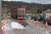 Livestock lorry going into a disinfectant wash  at Bakewell Livestock Market, Derbyshire.