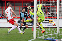 Max Kretzschmar of Wycombe Wanderers scores his sides 1st goal during the Sky Bet League 2 match between Stevenage and Wycombe Wanderers at the Lamex Stadium, Stevenage, England on 17 October 2015. Photo by PRiME Media Images.