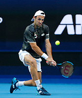 7th January 2020; RAC Arena, Perth, Western Australia; ATP Cup Australia, Perth, Day 5; USA versus Italy; Stefano Travaglia of Italy plays a backhand shot against Taylor Fritz of the USA - Editorial Use