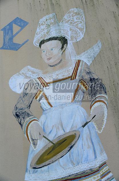 """Europe/France/Bretagne/29/Finistère/Riec-sur-Belon : Détail du mur peint de la crèperie """"Chez Thérèse"""""""