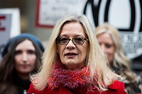 NEW YORK, NEW YORK - JANUARY 6: Actress Louise Godbold , center, speaks with members of the media after Harvey Weinstein arrives at the Manhattan courthouse. On January 6, 2020 in New York City. Weinstein pleaded not guilty to five counts of rape and faces a possible life sentence in prison. (Photo by Pablo Monsalve / VIEWpress)