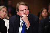 White House Counsel and Assistant to the President for U.S. President Donald Trump, Donald McGahn, as Supreme Court nominee Brett Kavanaugh testifies before the US Senate Judiciary Committee on Capitol Hill in Washington, DC, September 27, 2018.  / POOL / SAUL LOEB