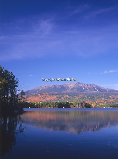 Fall view of Mt. Katahdin from Upper Togue Pond in Baxter State Park, Maine, USA