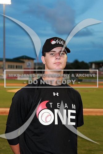 Outfielder Jesse Winker (20) of Olympia High School, committed to Florida, participates in the Team One Futures Game East at Roger Dean Stadium on September 25, 2010 in Jupiter, Florida..  (Copyright Mike Janes Photography)