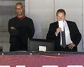 Jim Madigan (NU - Head Coach) watched the game with Peter Roby (NU - AD) from the old press box while serving a suspension from the 2013-2014 Hockey East quarterfinals. - The visiting University of Vermont Catamounts defeated the Northeastern University Huskies 6-2 on Saturday, October 11, 2014, at Matthews Arena in Boston, Massachusetts.