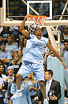 """13 October 2006: UNC's Reyshawn Terry entertains the crowd with a reverse dunk. The University of North Carolina at Chapel Hill Tarheels held their first Men's and Women's basketball practices of the season as part of """"Late Night with Roy Williams"""" at the Dean E. Smith Center in Chapel Hill, North Carolina."""